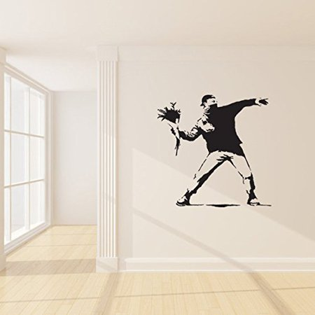 Protest With Flowers Banksy Wall Decal - Wall Sticker, Vinyl Wall Art, Wall Applique, Home Decor Mural - B1004 - 46in x 46in - Pink