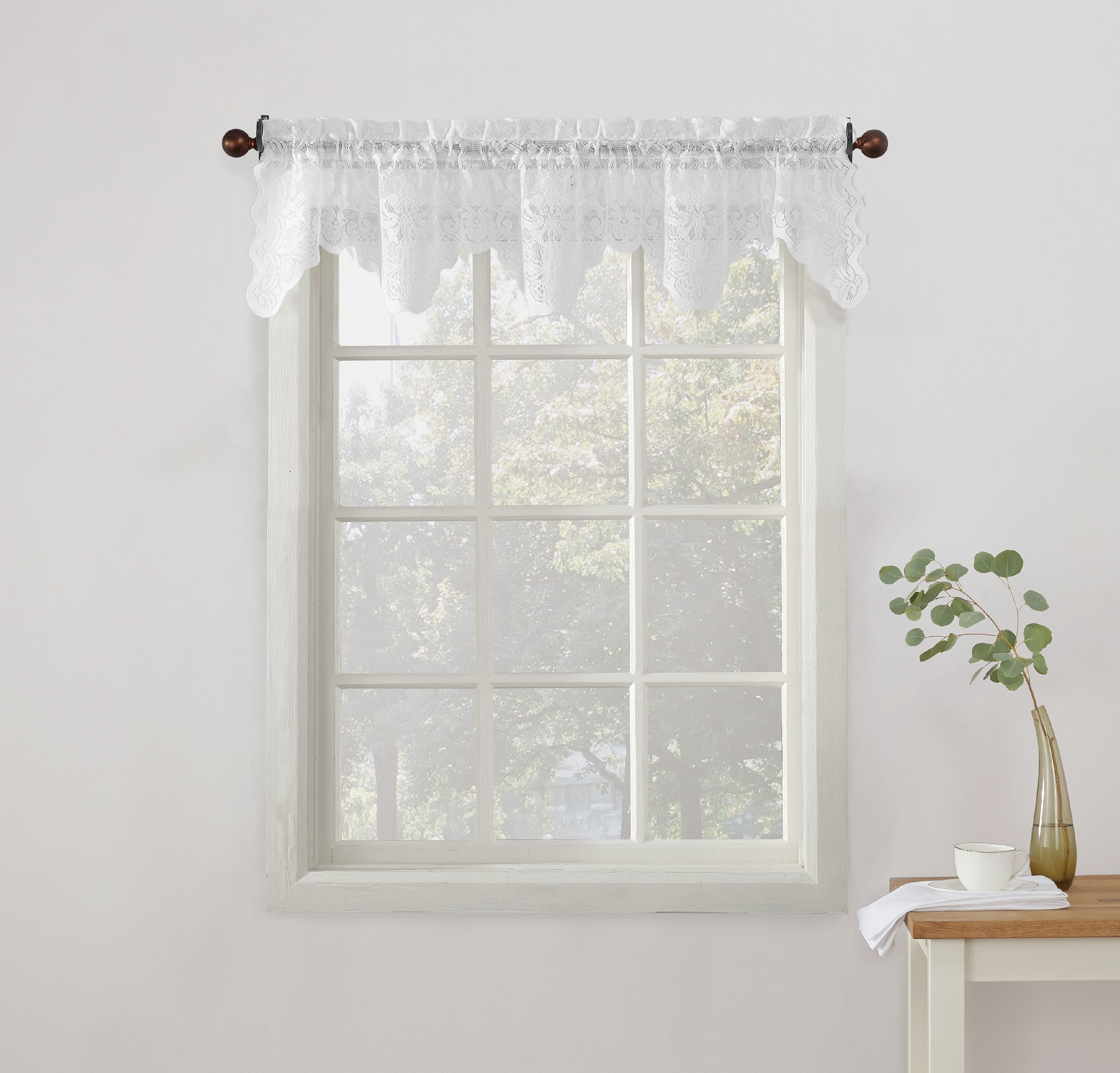 918 Alison Sheer Lace Kitchen Curtain Valance, Tier, Or Swag