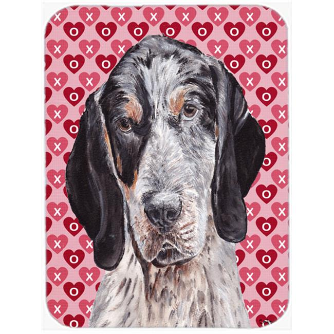 Blue Tick Coonhound Hearts And Love Mouse Pad, Hot Pad Or Trivet, 7.75 x 9.25 In.