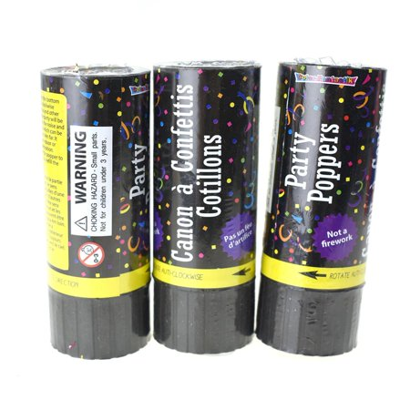 Party Confetti Poppers, 3-Count