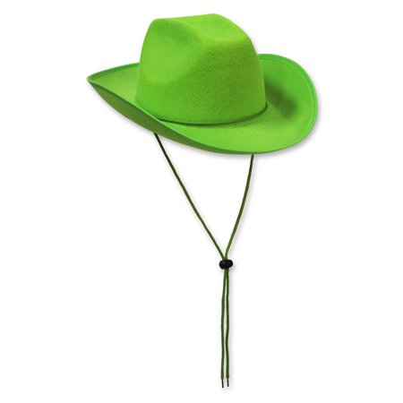 Pack of 6 Western Themed Lime Green Felt Cowboy Hat Costume Accessories