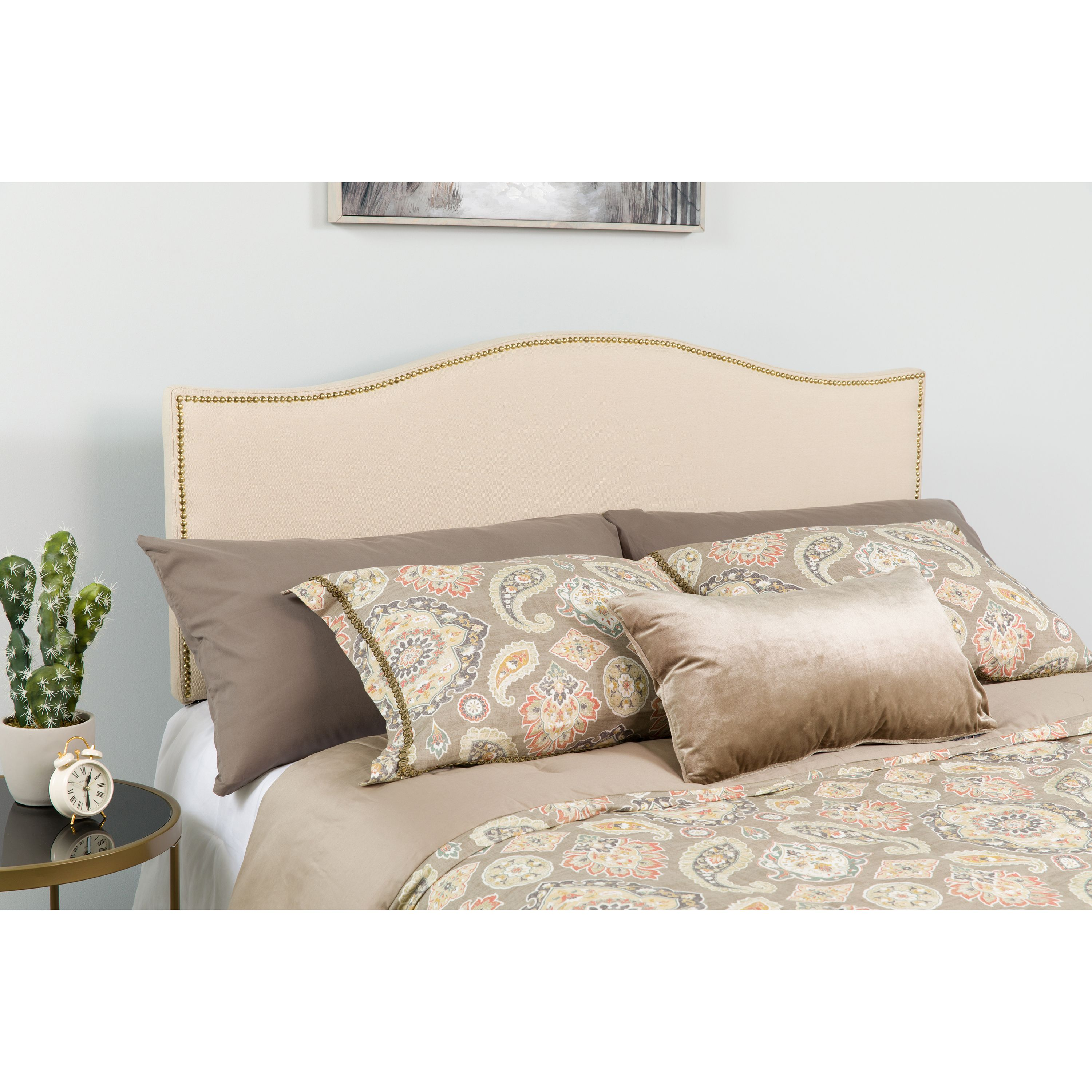 Flash Furniture Lexington Upholstered Queen Size Headboard with Decorative Nail Trim in Beige Fabric