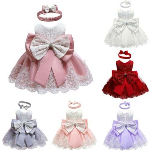 Flower Girls Princess Dress Pageant Wedding Party Kids Tutu Sequins Bowknot Gown