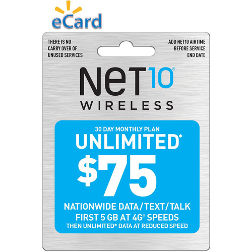 Net10 Unlimited Talk/Text and 5GB $75 (Email Delivery)