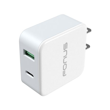 36W 2-Port USB Home Wall Charger Quick Type-C Port Travel AC Adapter Compact [White] V2B for Doro Doro 824 SmartEasy - Essential Phone (PH-1) - Google Pixel XL 3 XL 2 XL (824 Two Light)