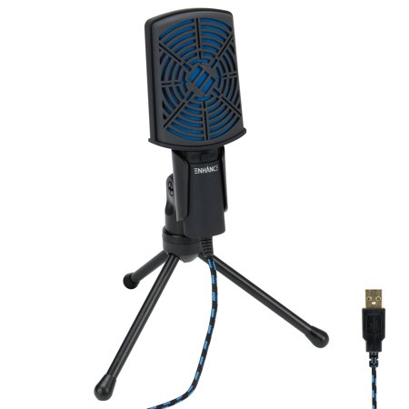 ENHANCE USB Condenser Gaming Microphone - Computer Desktop Mic for Streaming & Recording with Adjustable Stand Design and Mute Switch - For Skype, Conference Calls, Twitch, Youtube, and Discord -