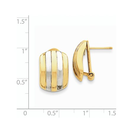 14k Yellow Gold w/Rhodium  Ribbed Omega Back Post (12x17mm) Earrings - image 2 of 3