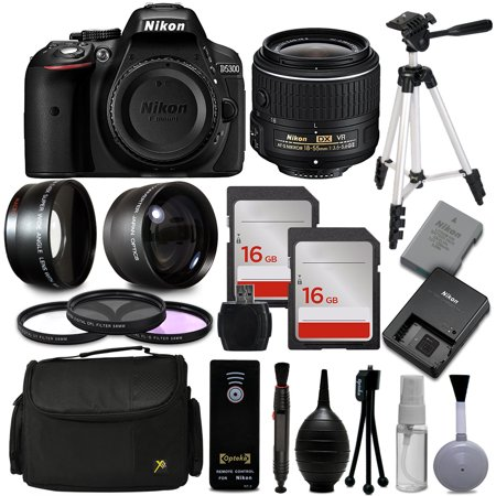 Nikon D5300 DSLR Professional Digital Camera 1522 with 18-55mm + 30 PC Accessory Bundle Kit + 54″ Tripod + 32GB + Remote Control + 52mm UV-CPL-FLD Filter + Wide Angle Lens + Telephoto Lens + More