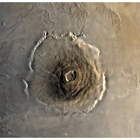 The largest known volcano in the solar system Olympus Mons Rolled Canvas Art - Stocktrek Images (15 x 14) Olympus Image Systems