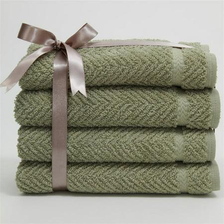 Luxury Hotel & Spa Herringbone Weave 100%Turkish Cotton Hand Towels - Set of 4