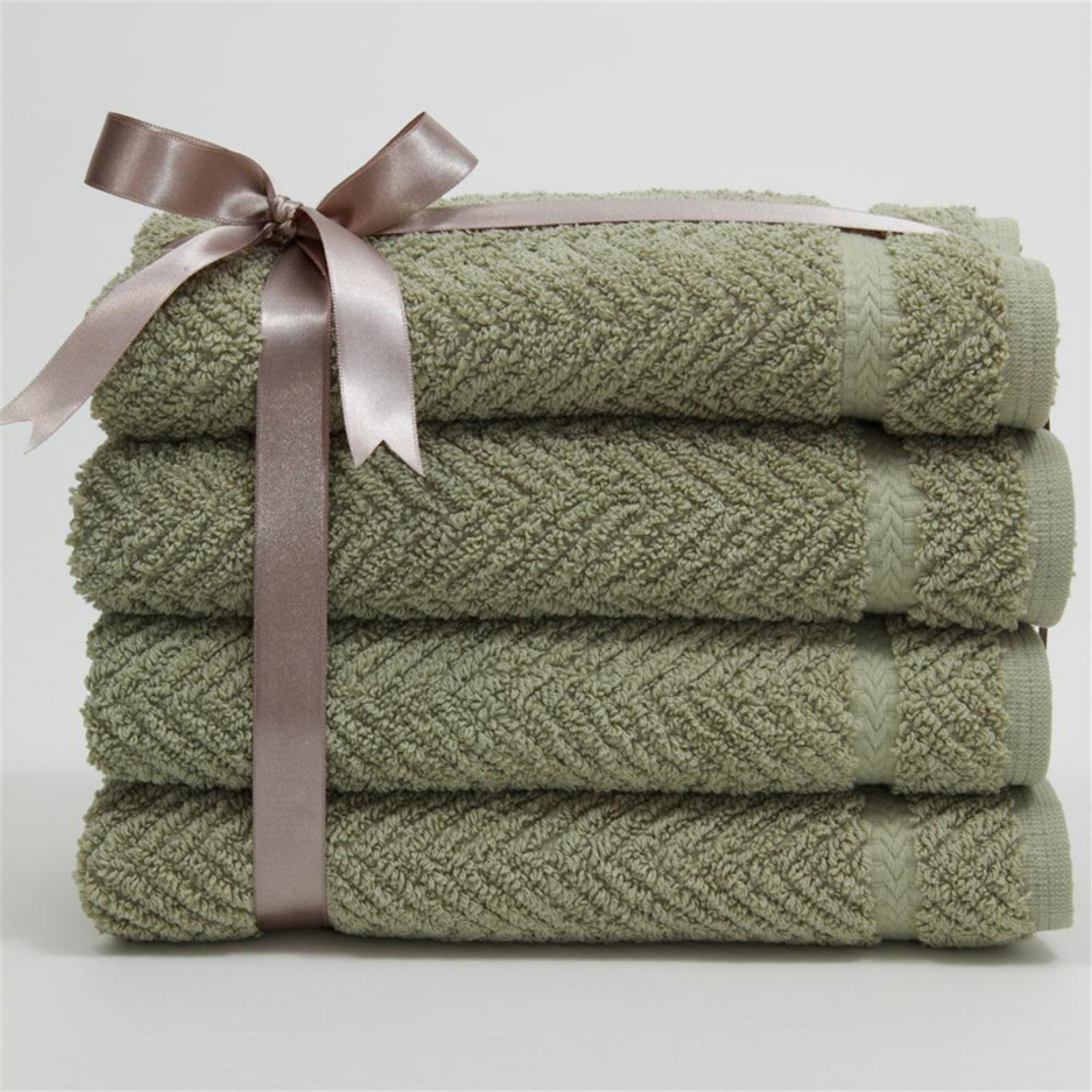 Luxury Hotel & Spa Herringbone Weave 100%Turkish Cotton Hand Towels - Set of 4
