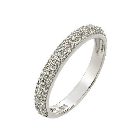 Round Clear Cubic Zirconia Pave Band Ring Rhodium Plated Sterling Silver Size (Sterling Silver Rhodium Brilliant Pave)