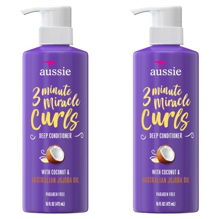 For Curly Hair - Aussie Paraben-Free Miracle Curls 3 Minute Miracle w/ Coconut, 16 fl oz Twin Pack
