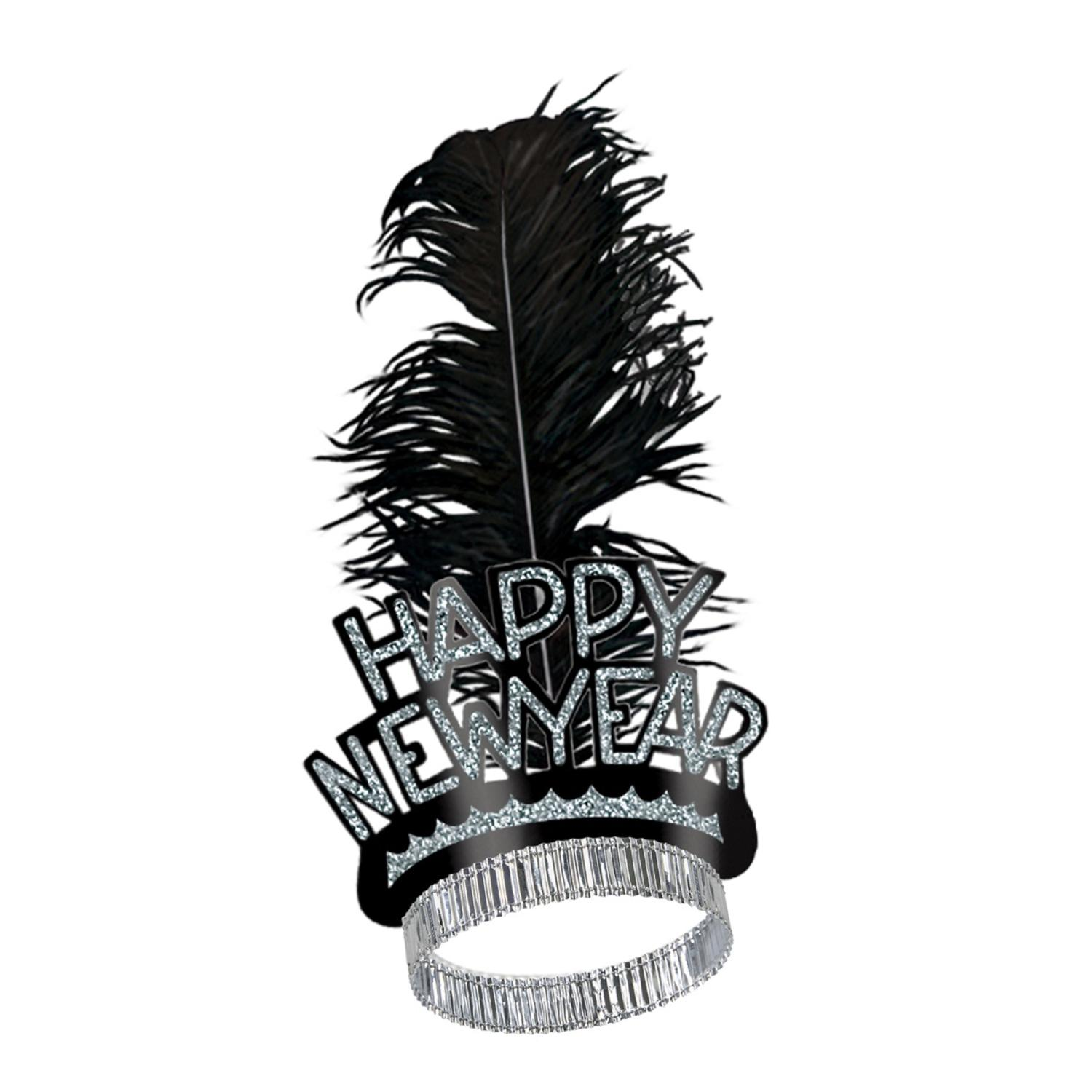 "Club Pack of 50 Black and Silver Swing ""Happy New Years"" Legacy Party Favor Tiaras"
