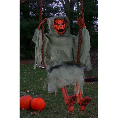 36in. Swinging Dead Pumpkin Halloween Decoration - Halloween Pumpkins For Sale Melbourne