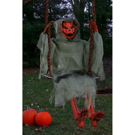 36in. Swinging Dead Pumpkin Halloween Decoration (Miley Halloween Pumpkins)