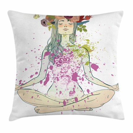 Yoga Throw Pillow Cushion Cover, Girl with Floral Wreath Sitting in Lotus Pose Color Splashes Levitation Meditation, Decorative Square Accent Pillow Case, 24 X 24 Inches, Multicolor, by Ambesonne