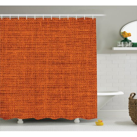 Orange Shower Curtain Set Faded Burlap Texture Background Of Macro Thick Fabric Graphic Mat