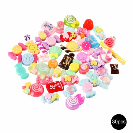 30pcs Slime Charms Mixed Resin Candy Beads DIY Collage Crafts
