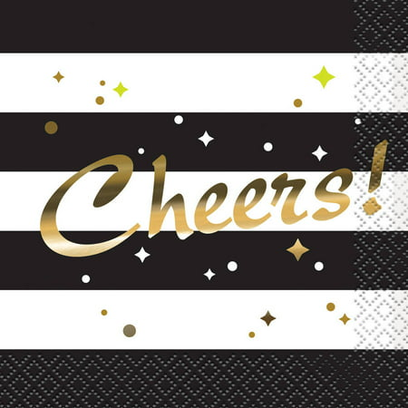 Foil Chic Black & Gold Cheers Cocktail Napkins, 16ct - Gold Cocktail Napkins