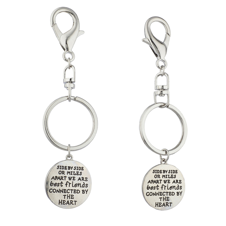 Lux Accessories Silvertone Side By Side Engrave Inspirational BFF Keychain 2PCS - Inspirational Keychains