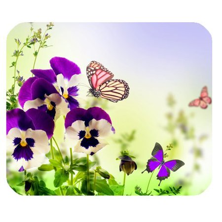 MKHERT Green Floral Flying Butterfly and Flowers Rectangle Mousepad Mat For Mouse Mice Size 9.84x7.87 inches](Butterflies Flying)