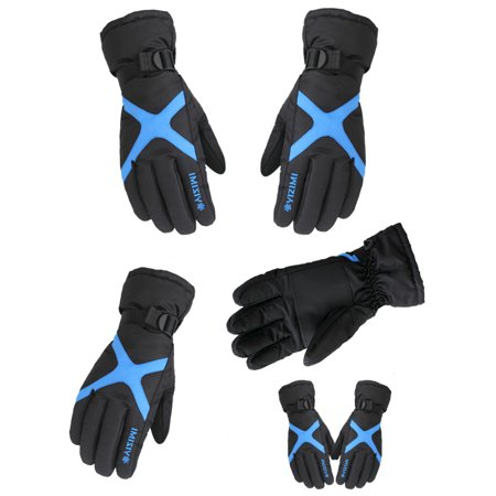 Gloves, Ski Gloves Men And Women Winter Plus Velvet Thickened Warm Motorcycle Waterproof Non-Slip Bicycle Electric Cotton Gloves, Blue