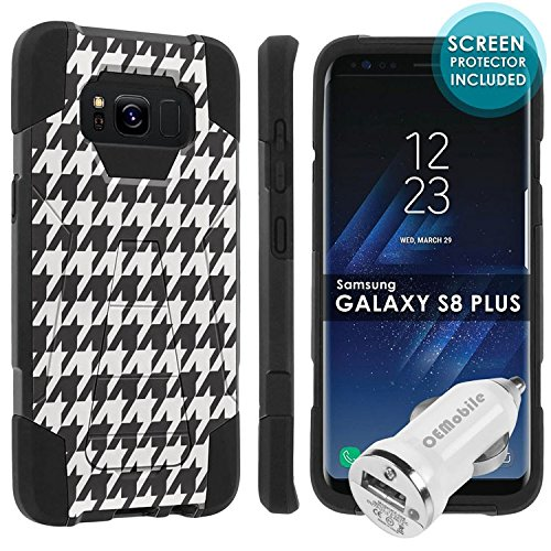 Galaxy S8Plus [Skinguardz] [Black/Black] Military Armor Case [KickStand] [Screen Protector] [