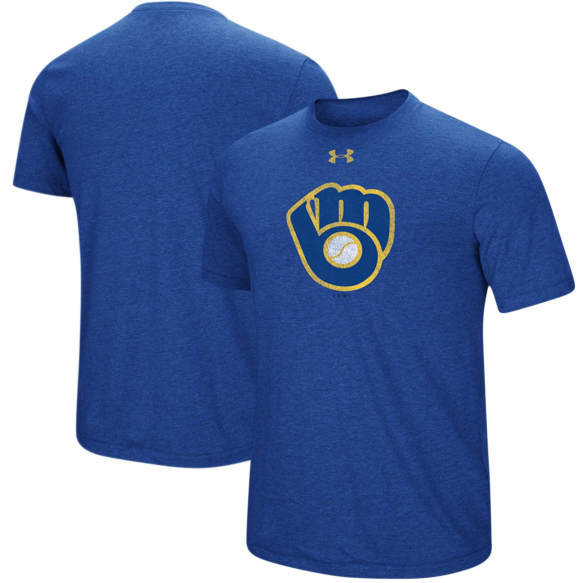 Milwaukee Brewers Under Armour Cooperstown Collection Mark Performance Tri-Blend T-Shirt - Heathered Royal