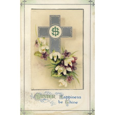 (Postcard nd Easter Happiness be Thine with cross Poster Print by Unknown)