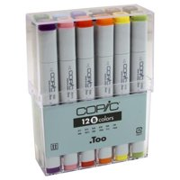Copic Classic Marker Set, 12-Color Basic Set