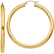 Primal Gold 10 Karat Yellow Gold Polished 4mm x 50mm Tube Hoop Earrings