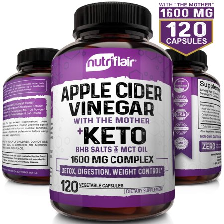 Raw Apple Cider Vinegar Capsules with the Mother + Keto Diet Pills BHB Salts with MCT Oil - 120 Vegan ACV Keto Pills - Best for Weight Loss, Keto, Digestion, Detox, Immune System - Powerful