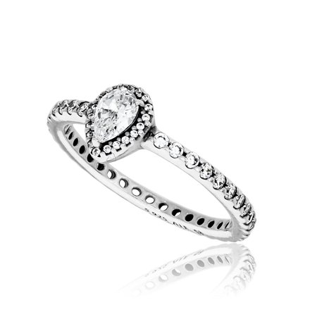 Radiant Teardrop Ring, Vintange-Cut & Clear CZ 196254CZ-58 EU 8.5 - Gemstone Teardrop Ring