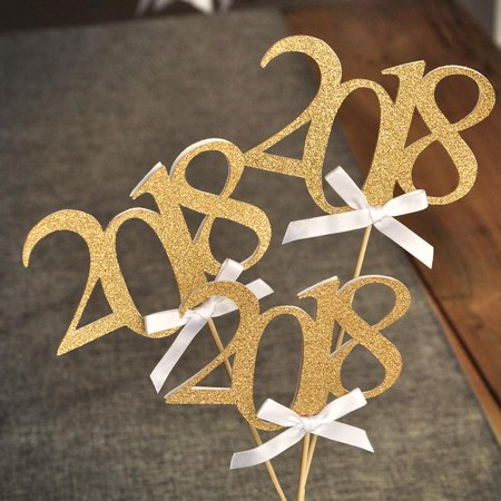 2018 Graduation Centerpiece Sticks with Bows. Crafted in 1-3 Business Days. Graduation Centerpiece Ideas. 3 Gold 2018 Wands with White Bows.