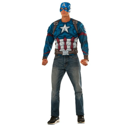 Adult Captain America Civil War Muscle Chest Captain America Long Sleeve Top Costume - Captain America Costume Mens