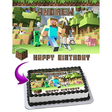MINECRAFT Edible Cake Topper Personalized Birthday 1 4 Sheet Decoration Custom Party Sugar