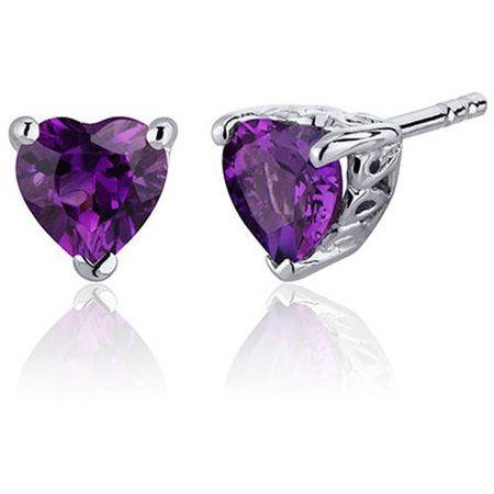 1.50 Carat T.G.W. Heart-Shape Amethyst Rhodium over Sterling Silver Stud Earrings