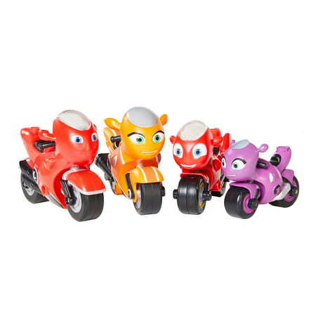 Ricky Zoom The Family Pack of Motorcycle Toy Action Figures Free Wheeling Standing Bikes, 4 Pack