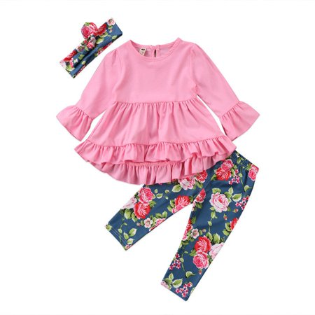 Little Girls Toddler Kids Pink/Green Long Sleeve Ruffle Dress T-Shirt Floral Capris Pants Headband/Scarf 3 Pcs Outfits Sets