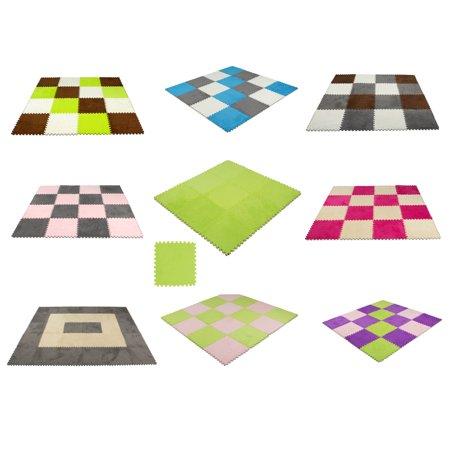 9 pcs Interlocking Carpet Tiles Plush Foam Square Mats Set ...