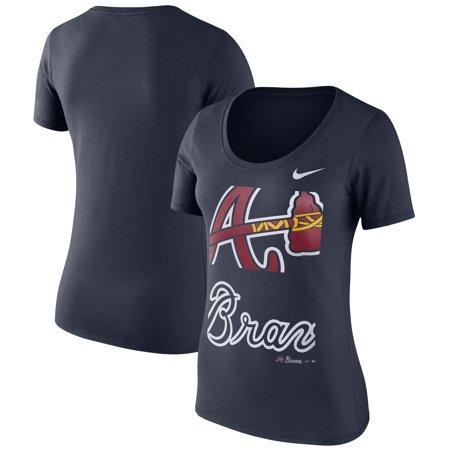 Atlanta Braves Nike Women's Stack Logo Scoop Neck T-Shirt - Navy ()