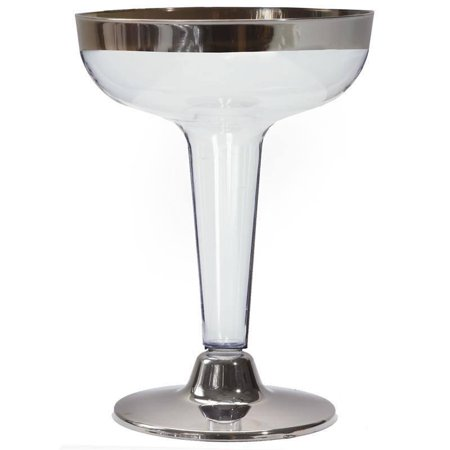 BalsaCircle 12 pcs 5 oz. Plastic Disposable Martini Glasses - Clear with Silver Rim](Orange Martini Glasses)