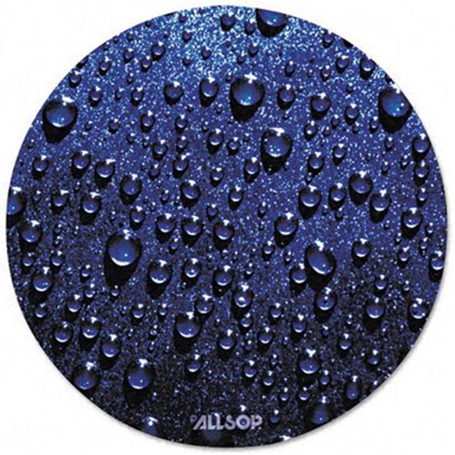 Plastic SlimLine Round Mouse Pad- Nonskid Back- Blue Raindrops