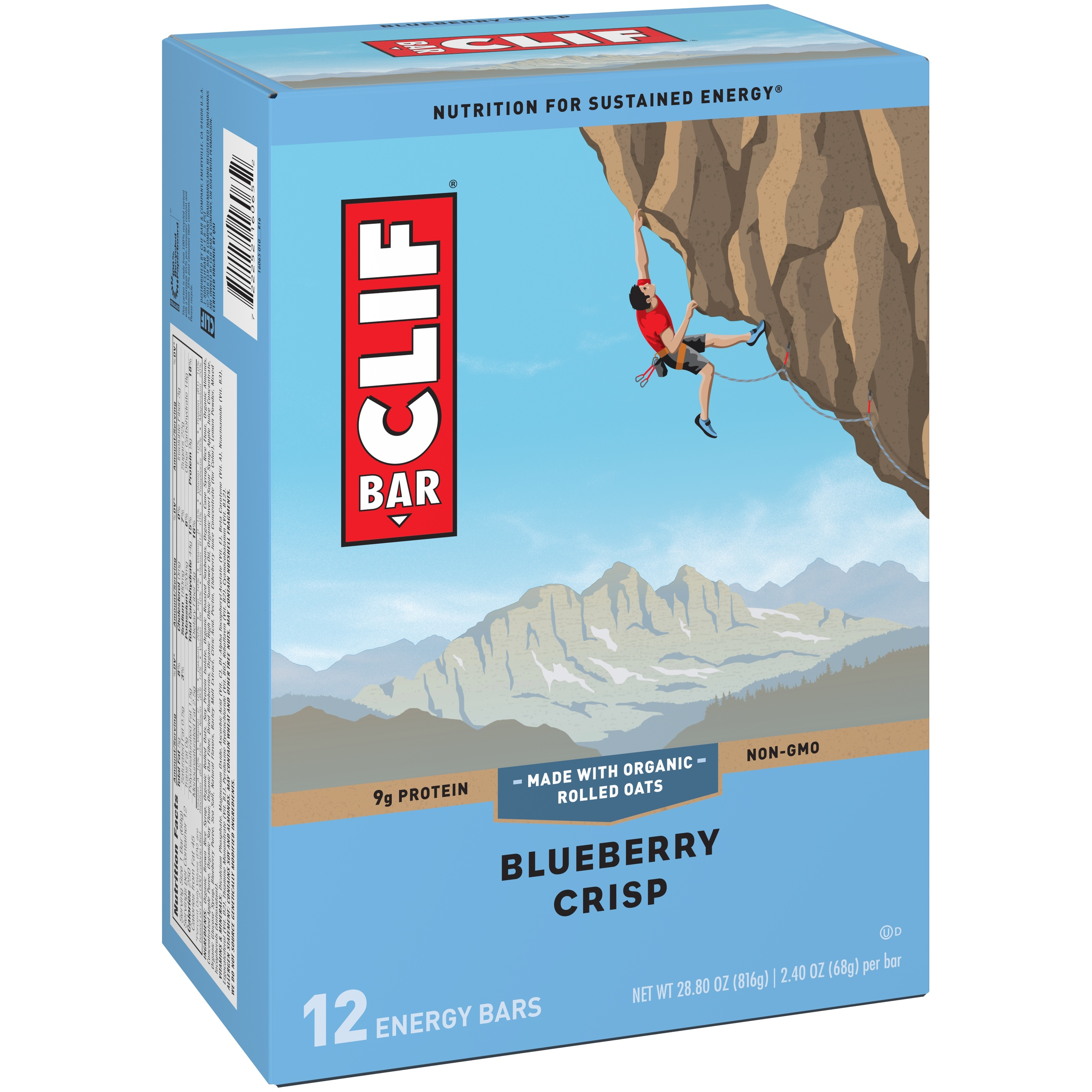 Clif Energy Bar, Blueberry Crisp, 9g Protein, 12 Ct