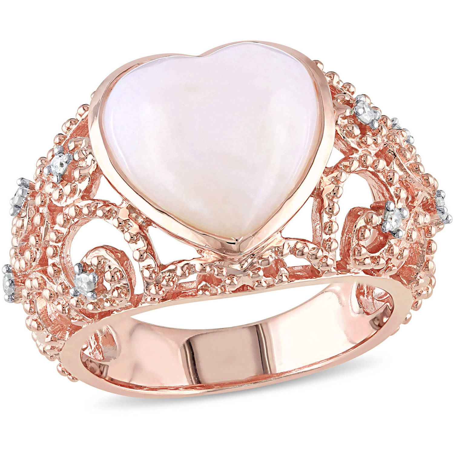 Tangelo 4-1/4 Carat T.G.W. Pink Opal and Diamond-Accent Rose Rhodium-Plated Sterling Silver Heart Cocktail Ring