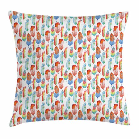 Feather Throw Pillow Cushion Cover, Hand Painted Style Collection of Colorful Feathers Artistic Vintage Nature, Decorative Square Accent Pillow Case, 18 X 18 Inches, Orange Blue Green, by Ambesonne](Painted Feather)