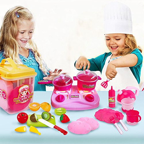 Play Kitchen Dishes mini toy kitchen set for girls/kids/toddlers - includes kids