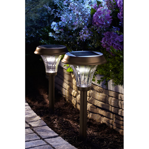 Moonrays 91754 Richmond-Style Premium Output Solar Powered Metal LED Path Light, Rubbed Bronze Finish, 2-Pack