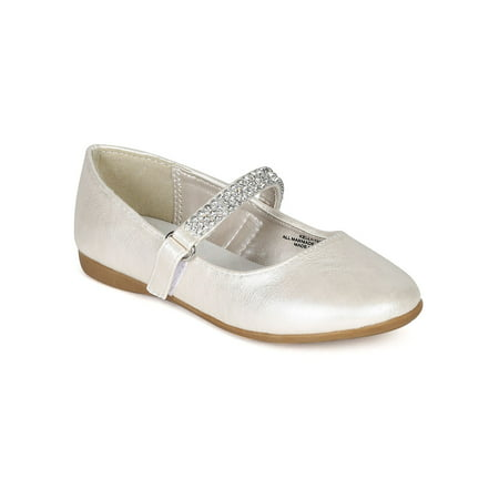 Leatherette Round Toe Rhinestone Mary Jane Ballerina Flat (Toddler/ Little Girl/ Big Girl) CA02](Flats For Little Girls)